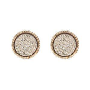 3/$20 Round Druzy Grey Stud Earrings